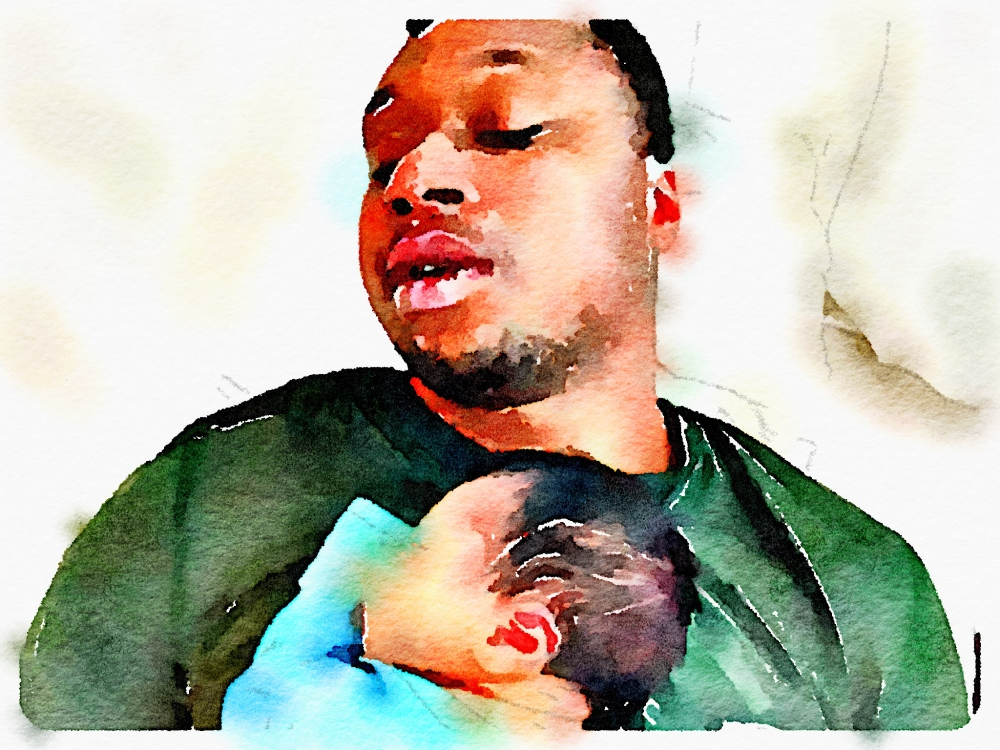 father son newborn watercolor portrait